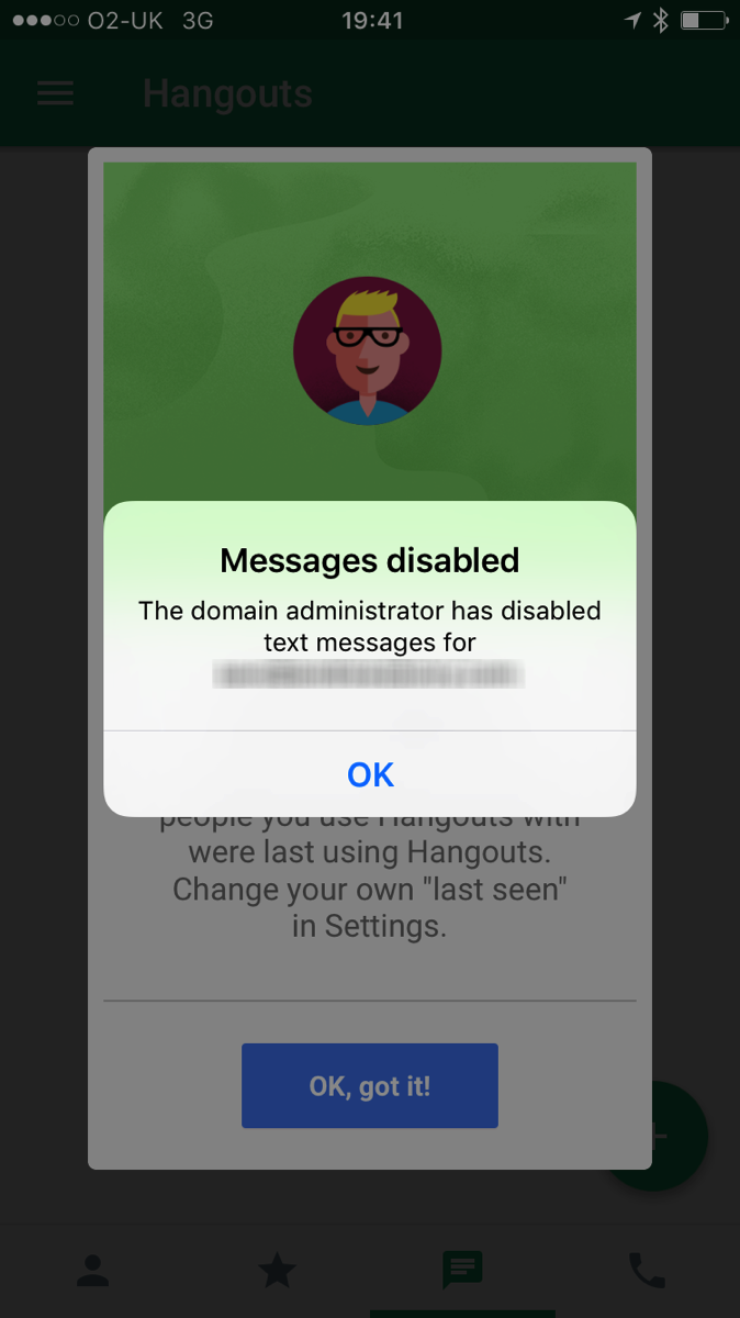 Google Hangouts Messages Disabled
